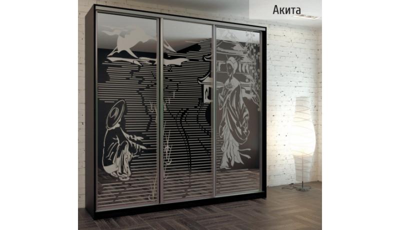 Шкаф-купе «Акита» (зеркало с пескоструйным рисунком)