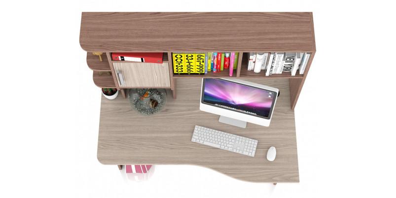 Стол компьютерный с надстройкой Лидер 5 (ясень шимо светлый/ясень шимо тёмный)