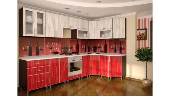 Кухня «Агнетта» пластик в алюмин рамке 3000х1600