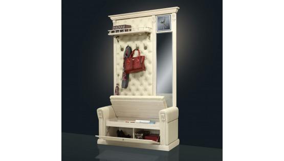 Вешалка «Благо» с подлокотниками, полкой, зеркалом и часами Б5.12-1