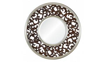 Зеркало Bergamo темный орех в серебряном обрамлении